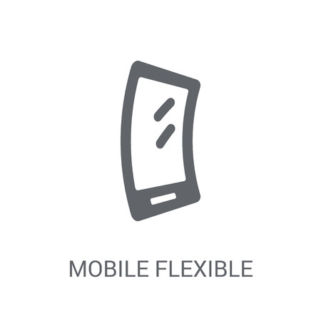 Mobile flexible display icon. Trendy Mobile flexible display logo concept on white background from Artificial Intelligence collection. Suitable for use on web apps, mobile apps and print media. Illustration
