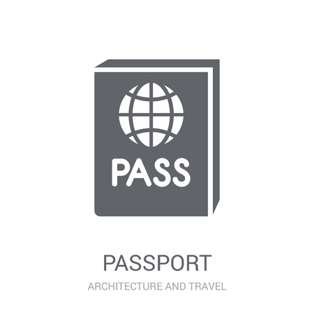 Passport icon. Trendy Passport logo concept on white background from Architecture and Travel collection. Suitable for use on web apps, mobile apps and print media. Standard-Bild - 111987699
