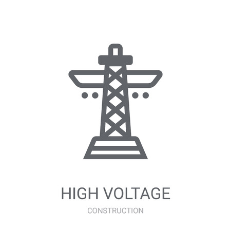 High voltage icon. Trendy High voltage logo concept on white background from Construction collection. Suitable for use on web apps, mobile apps and print media.
