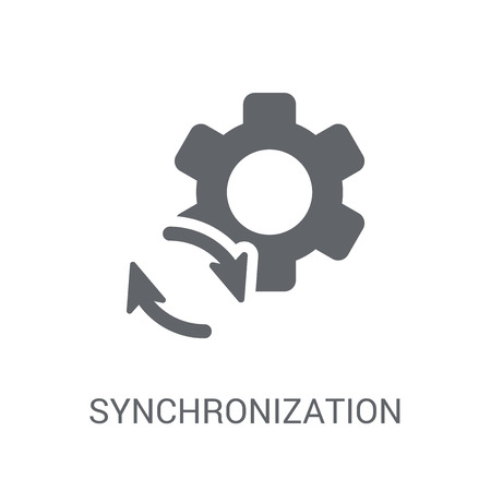 Synchronization icon. Trendy Synchronization logo concept on white background from Business and analytics collection. Suitable for use on web apps, mobile apps and print media.