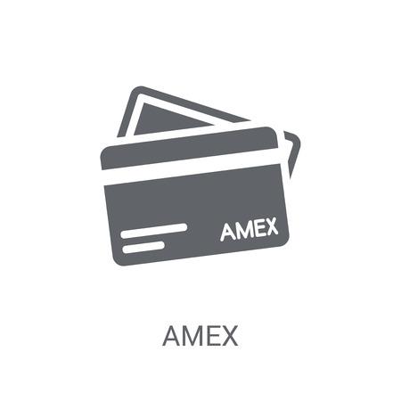 Icono de Amex. Moda concepto de logotipo Amex sobre fondo blanco de la colección economía y finanzas de Cryptocurrency. Adecuado para su uso en aplicaciones web, aplicaciones móviles y medios impresos.
