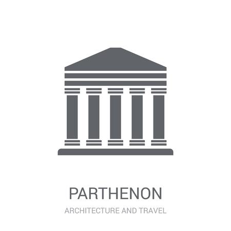 Parthenon-Symbol. Trendiges Parthenon-Logo-Konzept auf weißem Hintergrund aus der Architektur- und Reisekollektion. Geeignet für den Einsatz in Web-Apps, mobilen Apps und Printmedien.