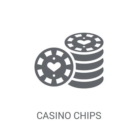 Casino-Chips-Symbol. Trendiges Casino-Chips-Logo-Konzept auf weißem Hintergrund aus der Cryptocurrency-Wirtschaft und Finanzsammlung. Geeignet für den Einsatz in Web-Apps, mobilen Apps und Printmedien. Logo