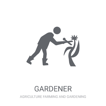 Gardener icon. Trendy Gardener logo concept on white background from Agriculture Farming and Gardening collection. Suitable for use on web apps, mobile apps and print media. 向量圖像