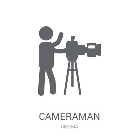 icône de caméraman. Concept de logo caméraman branché sur fond blanc de la collection Cinéma. Convient pour une utilisation sur des applications Web, des applications mobiles et des supports imprimés.