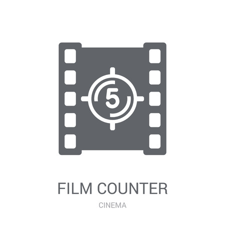 Film counter icon. Trendy Film counter logo concept on white background from Cinema collection. Suitable for use on web apps, mobile apps and print media.  イラスト・ベクター素材