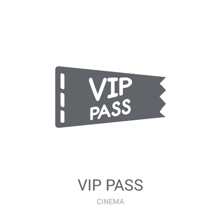 Vip pass icon. Trendy Vip pass logo concept on white background from Cinema collection. Suitable for use on web apps, mobile apps and print media.