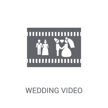 Wedding video icon. Trendy Wedding video logo concept on white background from Birthday party and wedding collection. Suitable for use on web apps, mobile apps and print media.
