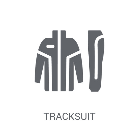 icono de chándal. Concepto de logo de chándal de moda sobre fondo blanco de la colección de ropa. Adecuado para su uso en aplicaciones web, aplicaciones móviles y medios impresos. Logos