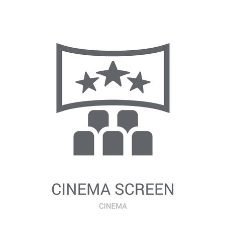 cinema screen icon. Trendy cinema screen logo concept on white background from Cinema collection. Suitable for use on web apps, mobile apps and print media.