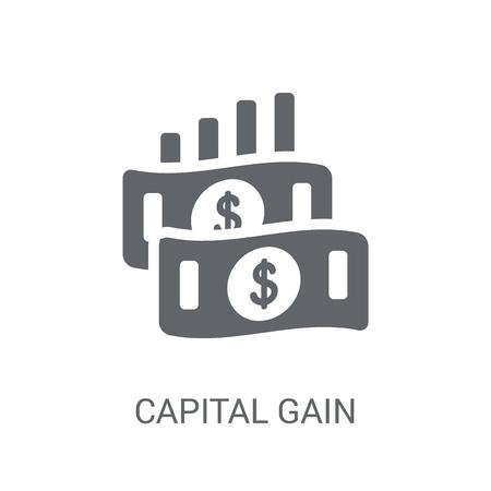 Symbol für Kapitalgewinn. Trendiges Kapitalgewinn-Logo-Konzept auf weißem Hintergrund aus der Geschäftssammlung. Geeignet für den Einsatz in Web-Apps, mobilen Apps und Printmedien.