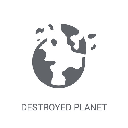 Destroyed planet icon. Trendy Destroyed planet logo concept on white background from Astronomy collection. Suitable for use on web apps, mobile apps and print media.