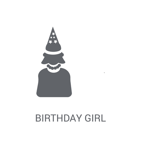Birthday girl icon. Trendy Birthday girl logo concept on white background from Birthday party and wedding collection. Suitable for use on web apps, mobile apps and print media. 일러스트