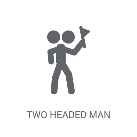 Icône de l'homme à deux têtes. Concept de logo tendance homme à deux têtes sur fond blanc de la collection Circus. Convient pour une utilisation sur des applications Web, des applications mobiles et des supports imprimés.