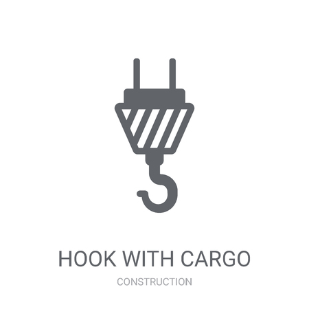 hook with cargo icon. Trendy hook with cargo logo concept on white background from Construction collection. Suitable for use on web apps, mobile apps and print media. Ilustração