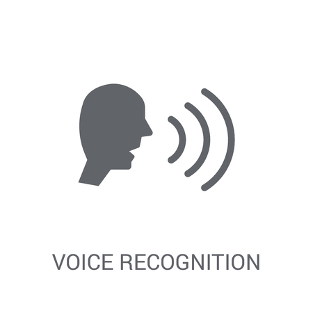 Voice recognition icon. Trendy Voice recognition logo concept on white background from Artificial Intelligence collection. Suitable for use on web apps, mobile apps and print media.