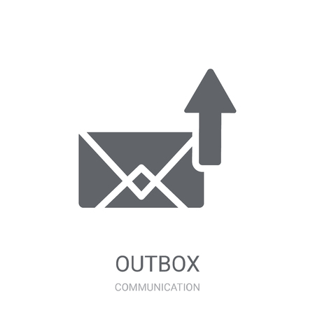 Outbox icon. Trendy Outbox logo concept on white background from Communication collection. Suitable for use on web apps, mobile apps and print media. Ilustração