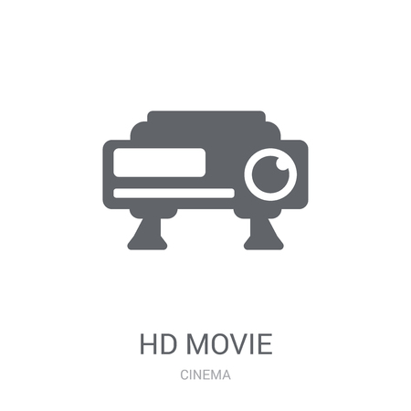 HD Movie icon. Trendy HD Movie logo concept on white background from Cinema collection. Suitable for use on web apps, mobile apps and print media.