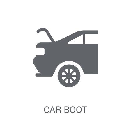 자동차 부팅 아이콘입니다. 자동차 부품 컬렉션에서 흰색 바탕에 유행 자동차 부팅 로고 개념. 웹 앱, 모바일 앱 및 인쇄 매체에 사용하기에 적합합니다. 벡터 (일러스트)
