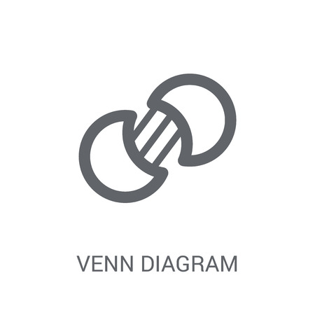 Venn diagram icon. Trendy Venn diagram logo concept on white background from Business and analytics collection. Suitable for use on web apps, mobile apps and print media.  イラスト・ベクター素材