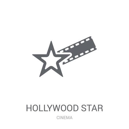 Icona della stella di Hollywood. Concetto di marchio trendy di Hollywood Star su priorità bassa bianca da collezione Cinema. Adatto per l'uso su app Web, app mobili e supporti di stampa. Vettoriali