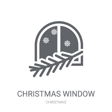 Christmas window icon. Trendy Christmas window logo concept on white background from Christmas collection. Suitable for use on web apps, mobile apps and print media.