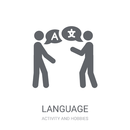 Language icon. Trendy Language logo concept on white background from Activity and Hobbies collection. Suitable for use on web apps, mobile apps and print media.