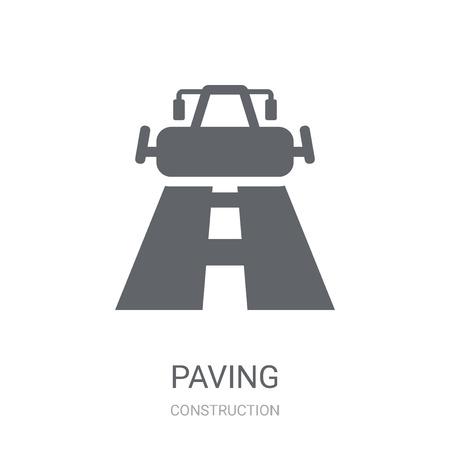Ikona kostki brukowej. Modna koncepcja logo nawierzchni na białym tle z kolekcji Construction. Nadaje się do użytku w aplikacjach internetowych, aplikacjach mobilnych i mediach drukowanych. Logo