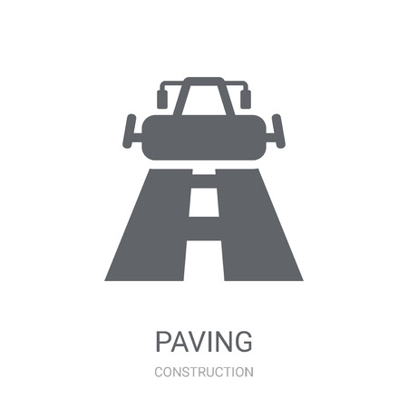 Paving icon. Trendy Paving logo concept on white background from Construction collection. Suitable for use on web apps, mobile apps and print media. Çizim