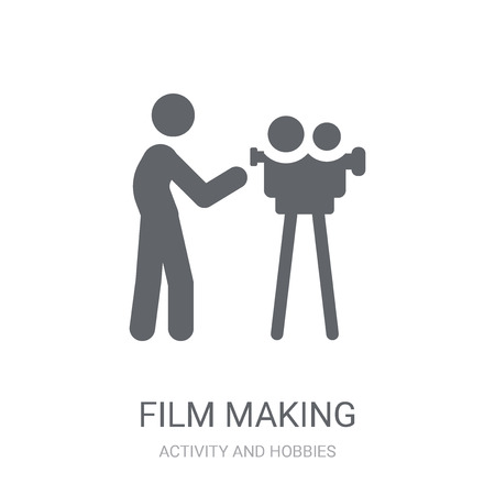 Film making icon. Trendy Film making logo concept on white background from Activity and Hobbies collection. Suitable for use on web apps, mobile apps and print media.  イラスト・ベクター素材
