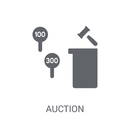 Auction icon. Trendy Auction logo concept on white background from Business and analytics collection. Suitable for use on web apps, mobile apps and print media.  イラスト・ベクター素材