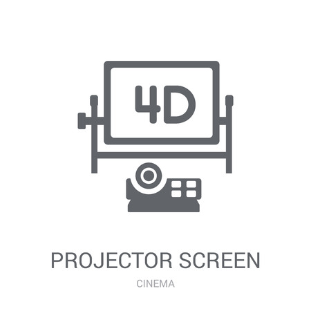 Projector Screen icon. Trendy Projector Screen logo concept on white background from Cinema collection. Suitable for use on web apps, mobile apps and print media.