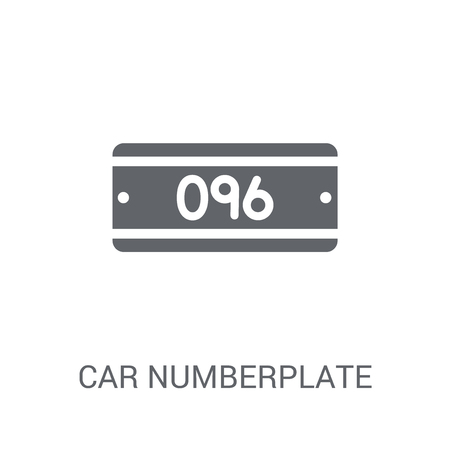 car numberplate icon. Trendy car numberplate logo concept on white background from car parts collection. Suitable for use on web apps, mobile apps and print media. Vettoriali