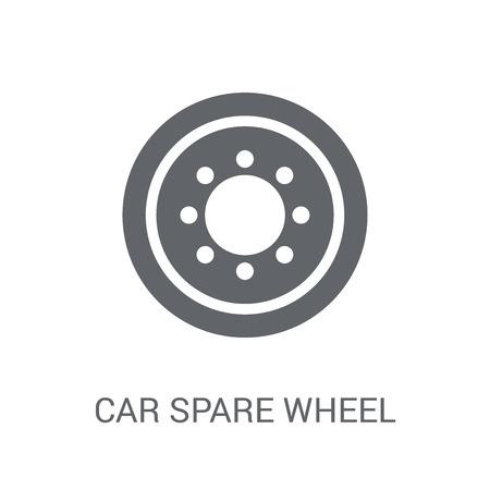 icono de rueda de repuesto de coche. Concepto de logo de rueda de repuesto de coche de moda sobre fondo blanco de la colección de piezas de automóvil. Adecuado para su uso en aplicaciones web, aplicaciones móviles y medios impresos. Logos
