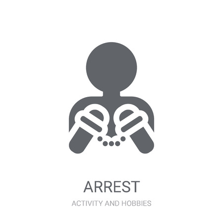 Arrest icon. Trendy Arrest logo concept on white background from Activity and Hobbies collection. Suitable for use on web apps, mobile apps and print media.