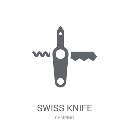Icono de cuchillo suizo. Moda concepto de logo de cuchillo suizo sobre fondo blanco de la colección camping. Adecuado para su uso en aplicaciones web, aplicaciones móviles y medios impresos.