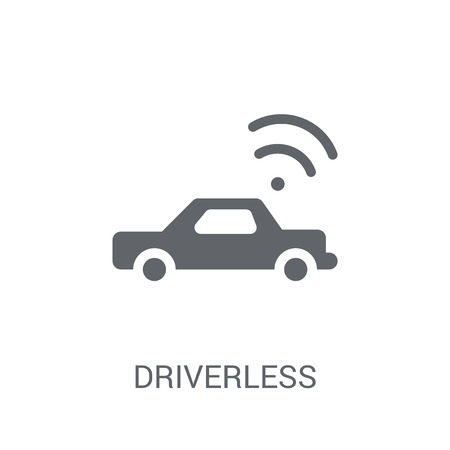 Driverless autonomous car icon. Trendy Driverless autonomous car logo concept on white background from Artificial Intelligence collection. Suitable for use on web apps, mobile apps and print media. Illustration