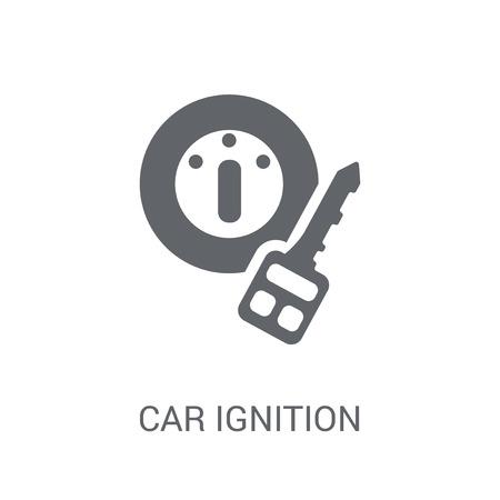 icône d'allumage de voiture. Concept de logo d'allumage de voiture à la mode sur fond blanc de la collection de pièces de voiture. Convient pour une utilisation sur des applications Web, des applications mobiles et des supports imprimés. Logo