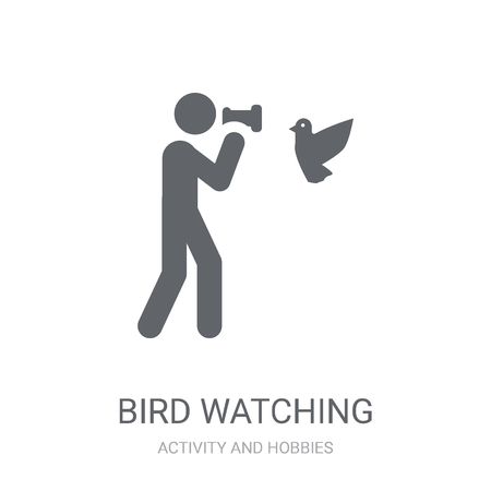 Bird watching icon. Trendy Bird watching logo concept on white background from Activity and Hobbies collection. Suitable for use on web apps, mobile apps and print media. Ilustração