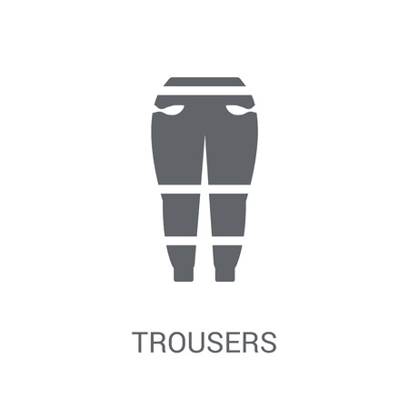 Icono de pantalones. Concepto de logo de pantalones de moda sobre fondo blanco de la colección de ropa. Adecuado para su uso en aplicaciones web, aplicaciones móviles y medios impresos.