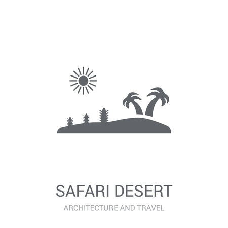 safari desert icon. Trendy safari desert logo concept on white background from Architecture and Travel collection. Suitable for use on web apps, mobile apps and print media.