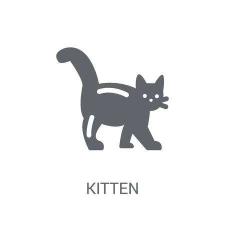 kitten icon. Trendy kitten logo concept on white background from animals collection. Suitable for use on web apps, mobile apps and print media. Stock Illustratie