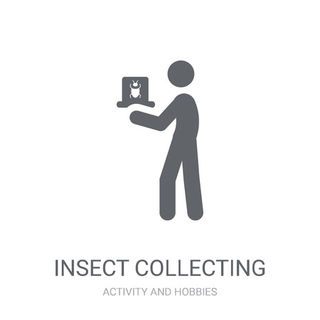 Insect collecting icon. Trendy Insect collecting logo concept on white background from Activity and Hobbies collection. Suitable for use on web apps, mobile apps and print media. Illustration