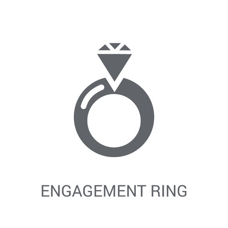 Engagement ring icon. Trendy Engagement ring logo concept on white background from Birthday party and wedding collection. Suitable for use on web apps, mobile apps and print media. Ilustração