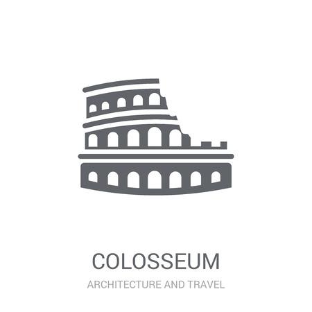 Kolosseum-Symbol. Trendiges Kolosseum-Logo-Konzept auf weißem Hintergrund aus der Architektur- und Reisekollektion. Geeignet für den Einsatz in Web-Apps, mobilen Apps und Printmedien. Logo