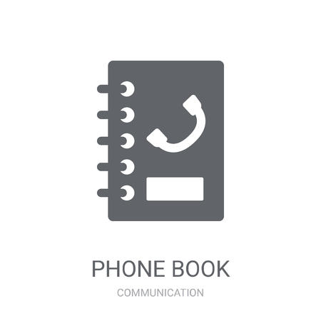Phone book icon. Trendy Phone book logo concept on white background from Communication collection. Suitable for use on web apps, mobile apps and print media. Ilustracja