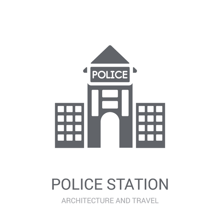 Police station icon. Trendy Police station logo concept on white background from Architecture and Travel collection. Suitable for use on web apps, mobile apps and print media.