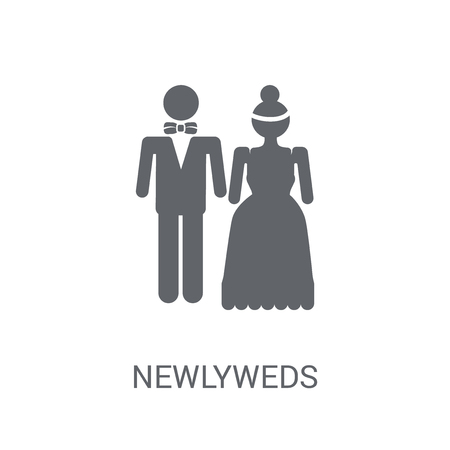 Newlyweds icon. Trendy Newlyweds logo concept on white background from Birthday party and wedding collection. Suitable for use on web apps, mobile apps and print media.