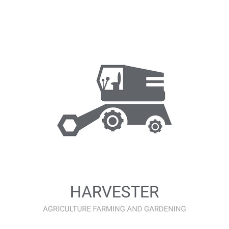 Harvester icon. Trendy Harvester logo concept on white background from Agriculture Farming and Gardening collection. Suitable for use on web apps, mobile apps and print media.