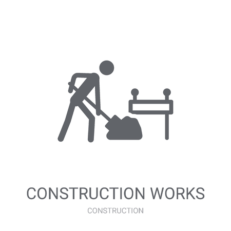 Construction works icon. Trendy Construction works logo concept on white background from Construction collection. Suitable for use on web apps, mobile apps and print media.